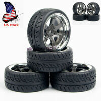 4Pcs 12mm Hex Tires&Wheel Rims PP0038+PP0150 For HSP HPI 1:10 On Road Racing Car