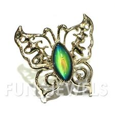 New Statement Color Change Oval Stone Butterfly Mood Ring Free Chart&Box Retro