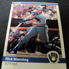 Rick Manning 1984 Fleer Autographed Signed Card Milwaukee Brewers #205 Rare