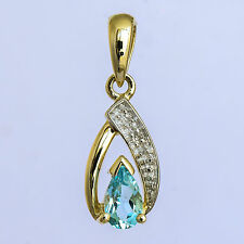 NATURAL BLUE TOPAZ PENDANT DIAMOND GENUINE 9K 375 GOLD NOVEMBER BIRTHSTONE NEW