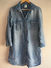 H&M Long Denim Shirt Tunic Dress Size 12
