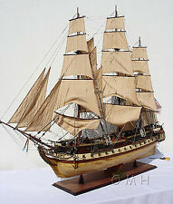 "USS Constitution Old Ironsides Tall Ship XL 59"" Wood Model Sailboat Assembled"