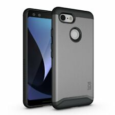 For Google Pixel 3 Case Rugged Dual Layer Protective PC TPU Cover Slim Fit Gray