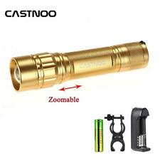 Zoomable 6000 LM  LED Flashlight +18650 Battery+3.7V Charger +Torch Clip GL