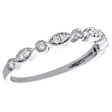 10K White Gold Bezel Set Diamond Teardrop Stackable Right Hand Ring 1/6 Ct.