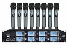 8 Channels UHF Wireless Cordless Microphone mic System PR-U8800SB