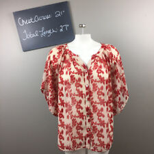 **Francesca's bird cage red pink chiffon floral blouse tunic sleeve top * S