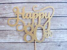 Happy 80th Cake Topper - Gold Glitter Eighty birthday topper, 80 cake decor