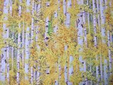 Gold Birch Aspen Trees Bark Landscape Medley Elizabeth Studio Fabric