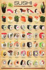 THE SUSHI POSTER 49 Classic Japanese Maki, Temaki, Nigri, Gunkan Wall Poster