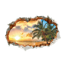 Large Palm Tree Beach Sunset 3D View Removable Wall Decals Sticker Home P8F9