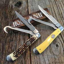 2LOT RITE EDGE Hoof Pocket Knife 2 Blade Bone Style & Yellow Handles 211162-2 -w
