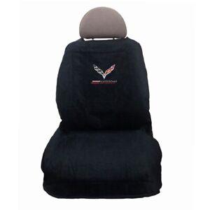 2014 - 2018 Grand Sport Corvette Seat Cover 100% Cotton Black Towel C7 Logo NEW