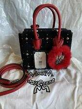 Authentic MCM Limited Black Velvet With Studs Mini Milla 2 Ways Bag