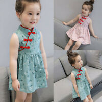 Toddler Kids Baby Girls Sleeveless Floral Cheongsam Party Princess Dress Outfits