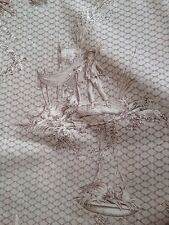 Vintage Rare Design French Scene Toile De Jouy Cotton Curtain Furnishings Fabric