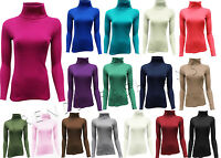 LADIES RIBBED POLL TURTLE ROLL NECK TOP FULL SLEEVE JUMPER PLUS SIZE 8.14