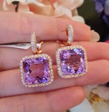Italian Amethyst Diamond Drop Earrings In 18k Rose Gold Tw 23 36 Ct Hm1406