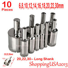 10 Pcs 6-30mm Diamond Coated Drill Bit Set Set Hole Saw Cutter Long Shank Glass*