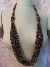 Incredible Vintage Assort Size/Shape Autumn Colors Glass & Gold Necklace 15N459