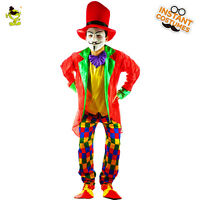 Adult Circus Clown Costume Comedy Carnival Cosplay Party Outfit Wigs Fancy Dress