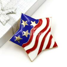 Unisex Red White Blue Star Flag Patriotic USA Rhinestone Pin Brooch Broach