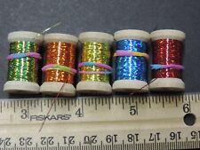 Lot D, 5 Asst. Spools Extra Thin Flat Holographic Tinsel Flash Ribbing, 60 Yds