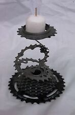 Recycled bicycle candle holder stacked gears