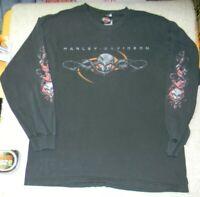 Vtg y2k 2000s Harley Davidson shirt mens large thrashed egirl streetwear skull