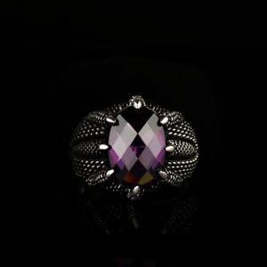 Men's Ring 925K Sterling Silver Turkish Handmade Jewelry Amethyst Stone
