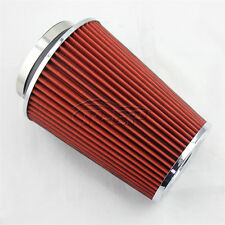 "3"" Inlet Car Long Ram Cold Air Intake Filter Cone Filter Red  KN Types For Ford"