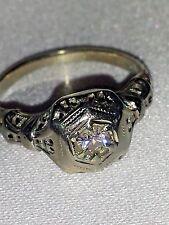 Amazing Antique 18K White Gold Diamond Filigree Flower Ring
