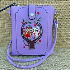 Lilac Owl Cross body Bag with Smart Phone Spectacle Holder Long Strap