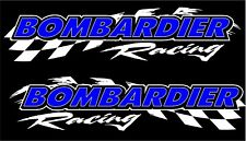 "Bombardier racing checker snowmobile 2 sticker decal set 5"" x 22"" white"