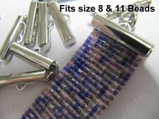 End Caps Slider Clasps, 3/4 inch Silver Color, Bead Patterns, 12 piece/6 Set