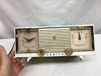 Vtg Zenith 5 Tube AM Clock Radio Model -B516-Good  Working. 1960s Mid Century