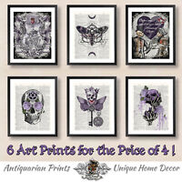 Set of 6 Gothic Art Prints on antique dictionary book pages, Skeleton Moth Skull