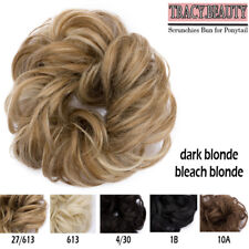 UK Real Natural Messy Bun Scrunchies Ponytail Hair Extensions Soft Thick Brown D