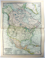 Original 1902 Map of North America by The Century Company. Antique