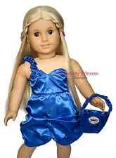 Blue Satin Dress + Purse Outfit girl clothes for 18 inch American Doll