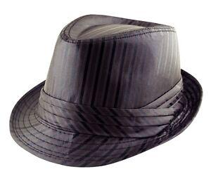 Men's Satin Silky Feel Stripe Trilby Fedora Hat Cap Black Brown