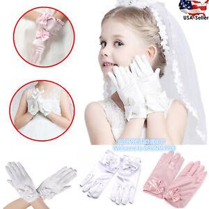 Wedding Flower Girl's Stretch Satin Dress Gloves, Toddlers Baby Girls 3-10 Years