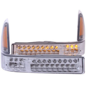 ANZO 2000-2004 Ford Excursion LED Parking Lights Chrome w/ Amber Reflector