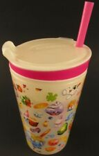 Shopkins SNACKEEZ! 8oz Pink 2 In 1 Snack And Drink Cup With Pink Straw