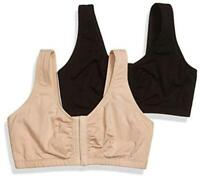 Fruit of the Loom Women's Front Close Sports Bra Bra,, Sand/Black, Size 48 8Z6n