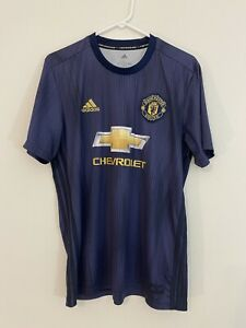 ADIDAS Parley Manchester United Soccer 3rd Jersey • Size Large Blue 3 Stripes