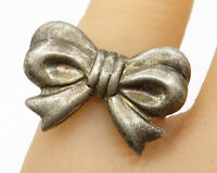 925 Sterling Silver - Vintage Bow Ribbon Detail Ring Sz 6.5 - R3942
