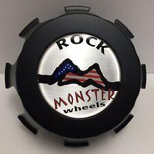 Rock Monster Wheels Flat Black Center Cap P/N 70065 Custom Wheel Rim Hubcap 8Lug