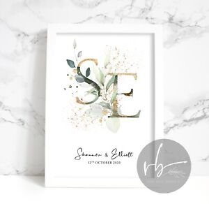 Engagement Initials Personalised Print, Wedding, Anniversary, Couple, Faux Gold