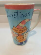 THE PIER CHRISTMAS TALL LATTE CAT PURRFECT MUG EXCELLENT CONDITION